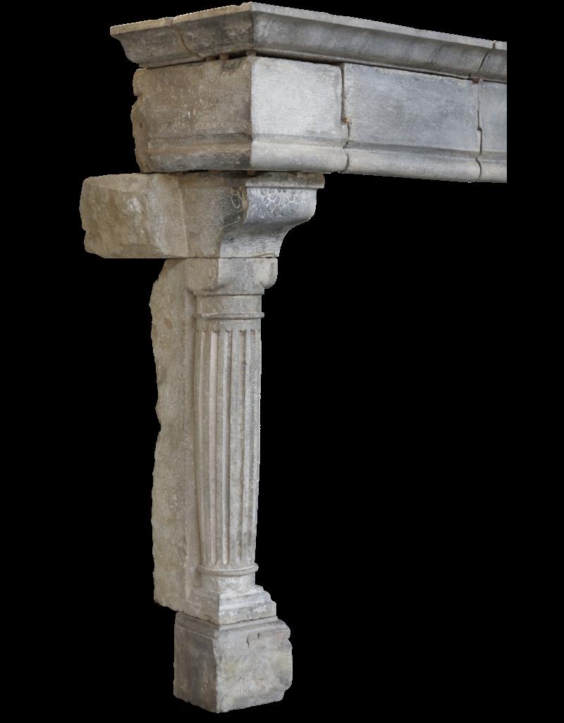 Starke Feudal Antike Kamin Maske In Hartem Kalkstein