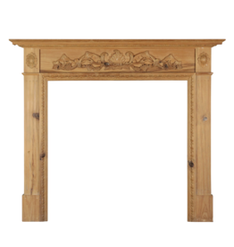British Carved Pine Wood Fireplace Surround.