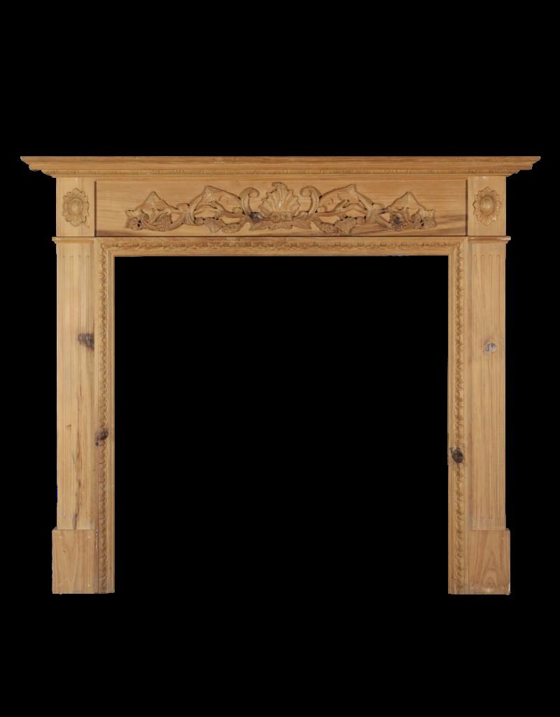 British Classic Pine Wood And Decorative Fireplace
