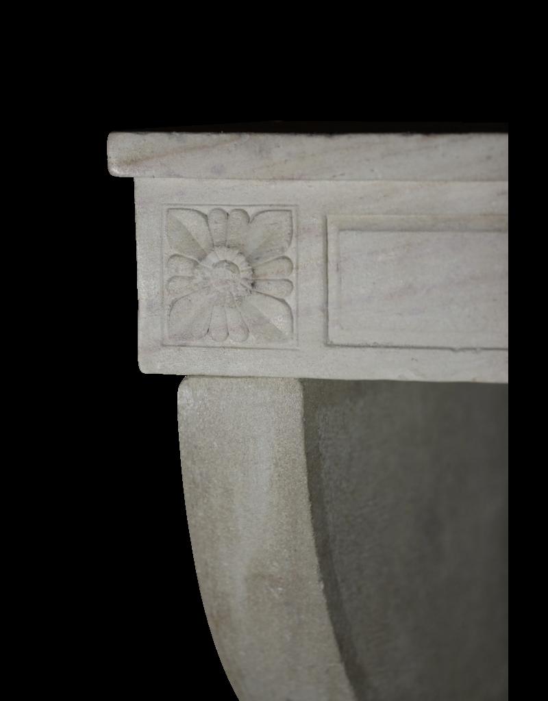 Elegant Grand White Limestone Fireplace