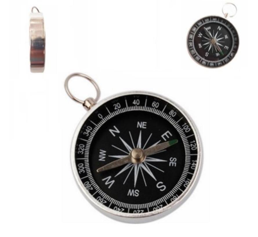 BonQ Pocket Kompas - Aluminium - 4,3 x 4,3 cm