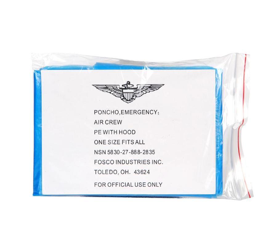 Fosco Emergency Poncho - Transparant Blauw - One Size Fits All