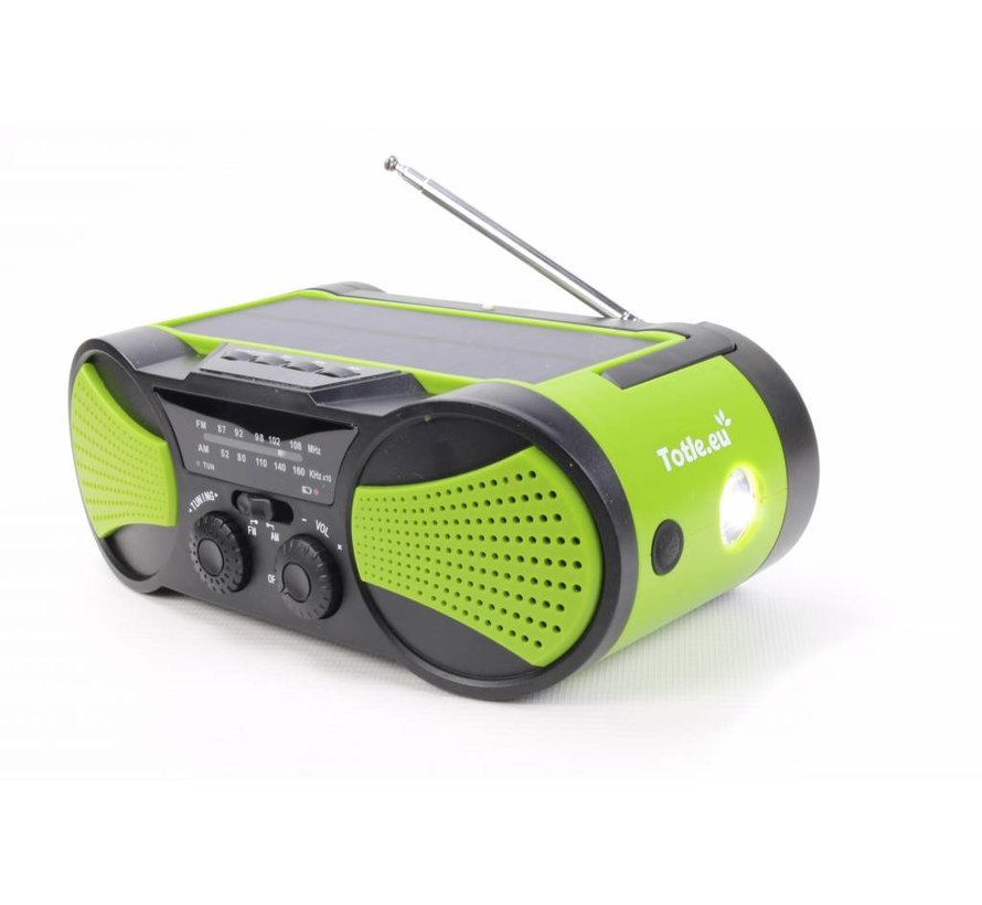 Totle Emergency Radio - Superior - 4000mah + Battery - Solar Panel - Wind-up