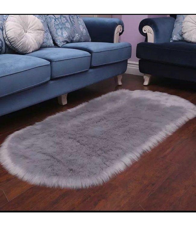 Thuisplanet vloerkleed wol handgemaakt 60x140 cm rond grijs