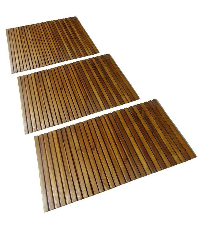 Badmat acaciahout 80 x 50 cm 3 stuks