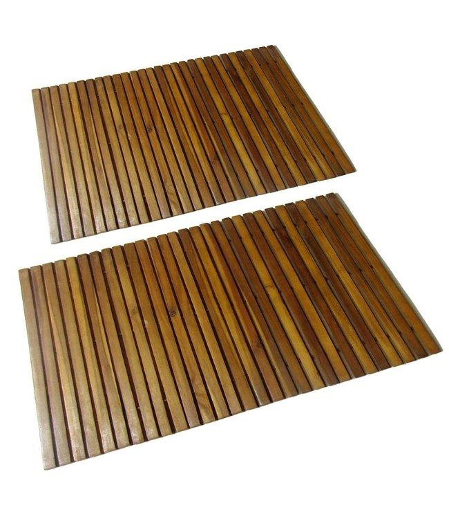 Badmat 80x50 cm acaciahout 2 st