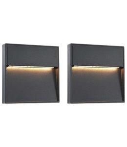 LED-buitenwandlampen 2 st 3 W vierkant zwart