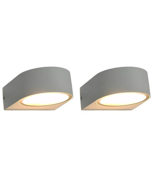 Buitenwandlampen 2 st 11 W rond wit