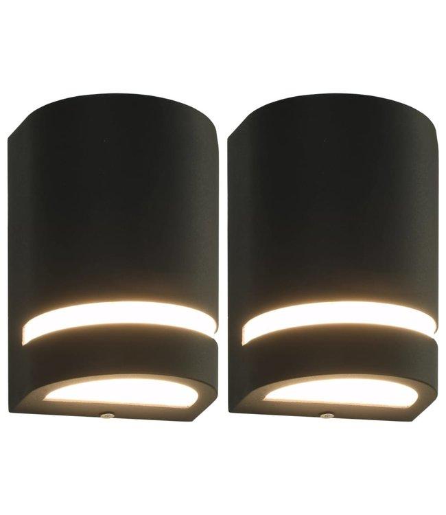 Buitenwandlampen 2 st 35 W halfrond zwart