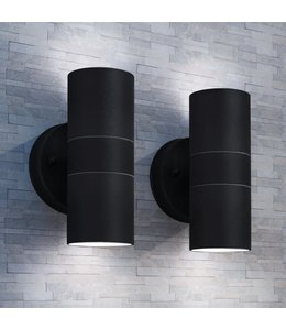 Buitenwandlampen 2 st op-/neerwaarts roestvrij staal
