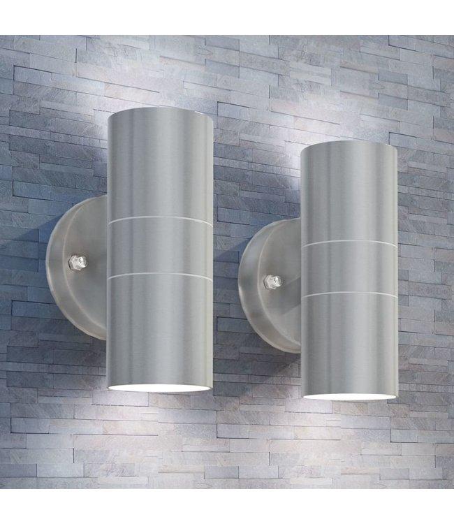 LED-wandlamp buiten op-/neerwaarts RVS 2 st