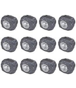 Buitenverlichting zonne-energie LED tuinlamp steenvormig 12 stuks