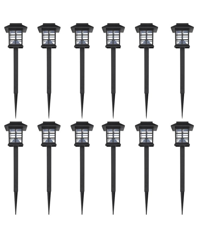 12-delige LED-tuinverlichtingsset solar met pin 8,6x8,6x38 cm
