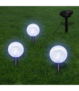 Solarbollampen 3 st LED met grondankers en zonnepaneel