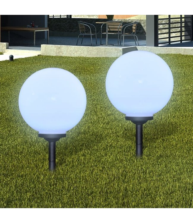 Buitenlampen solar bolvormig 30 cm 2 st