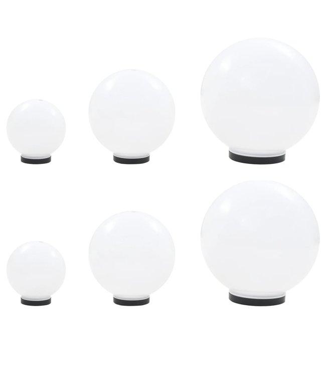 6-delige LED-bollampenset rond 20/30/40 cm PMMA