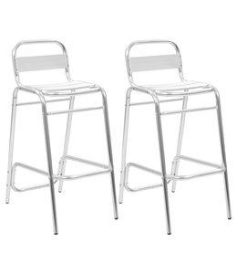 Barstoelen stapelbaar 2 st aluminium