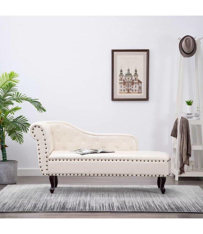 Chaise longue kunstleer crèmewit