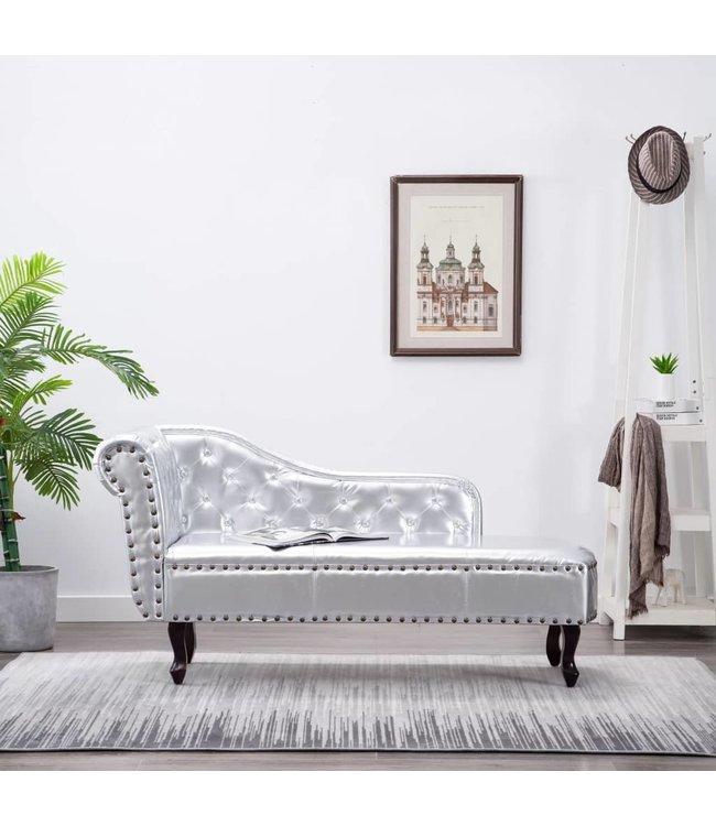Chaise longue kunstleer zilverkleurig