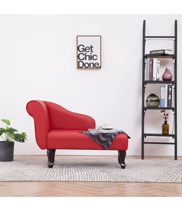 Chaise longue kunstleer rood