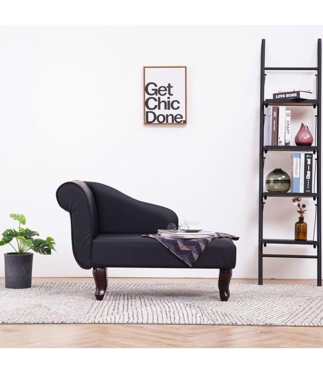 Chaise longue kunstleer zwart