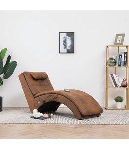 Massage chaise longue met kussen kunstsuède bruin