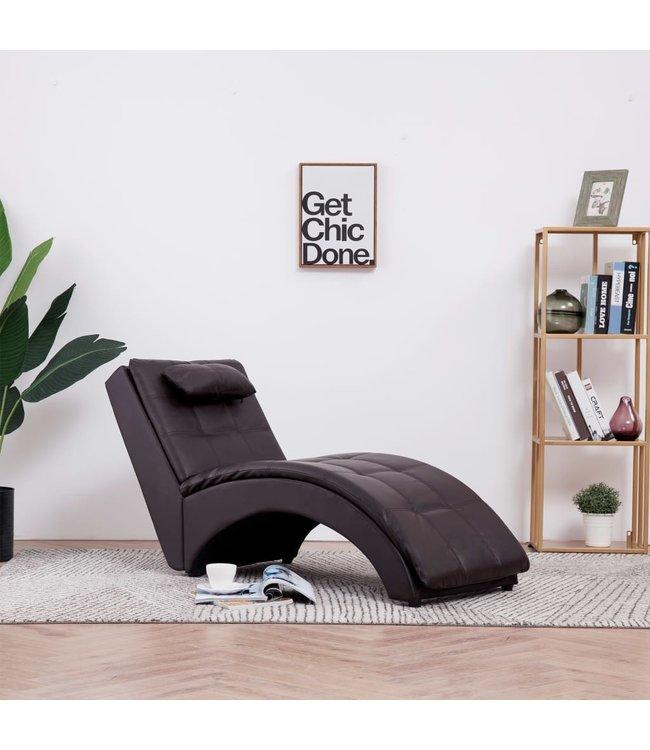 Chaise longue met kussen kunstleer bruin
