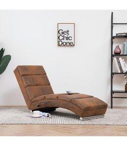 Massage chaise longue kunstsuède bruin