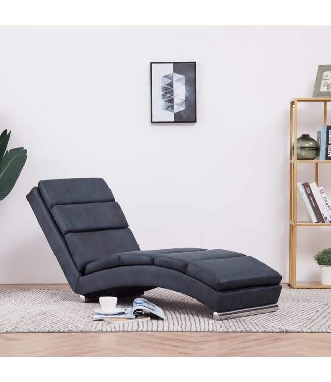 Chaise longue kunstsuède grijs