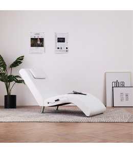 Massage chaise longue met kussen kunstleer wit