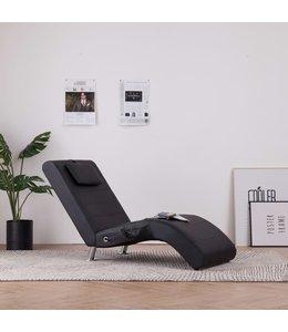 Massage chaise longue met kussen kunstleer zwart