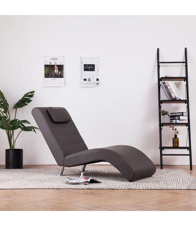 Chaise longue met kussen kunstleer grijs