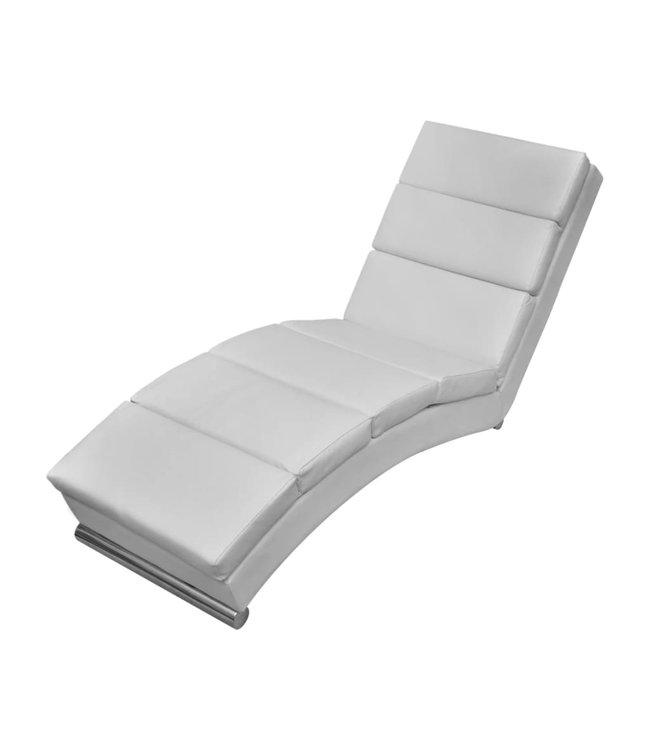 Chaise longue kunstleer wit