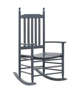 Schommelstoel met gebogen zitting populierenhout grijs