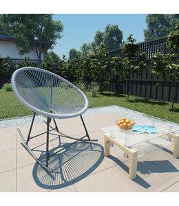 Tuinmaanstoel schommelend poly rattan grijs