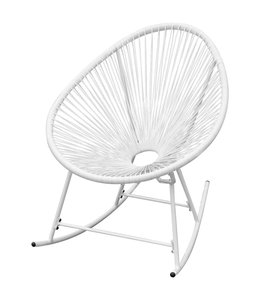 Tuinschommelstoel poly rattan wit