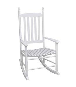 Schommelstoel met gebogen zitting hout wit