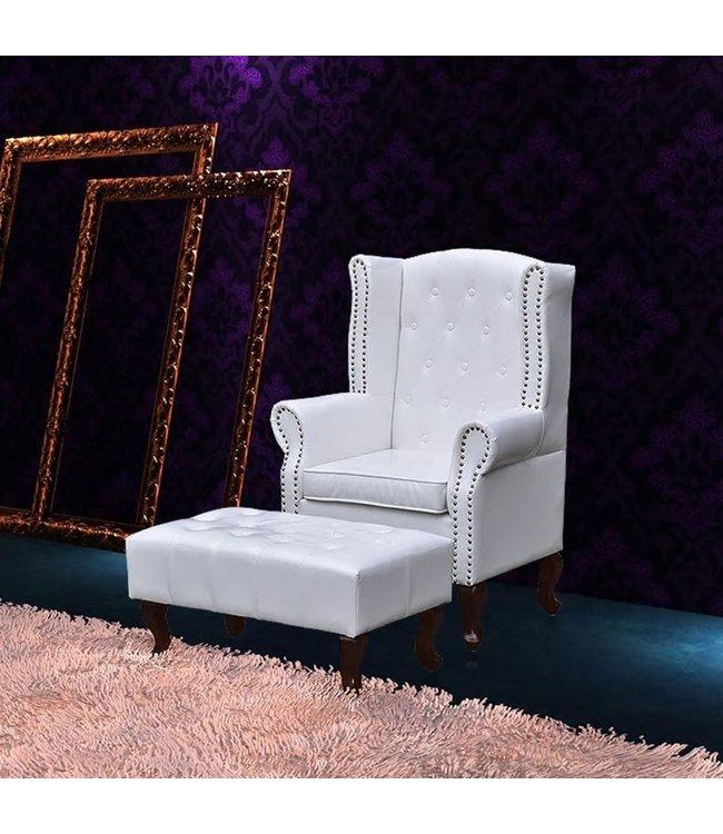 Chesterfield fauteuil met hocker (wit)