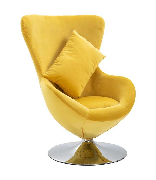 Draaistoel eivormig met kussen fluweel geel