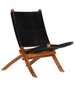 Relaxstoel inklapbaar echt leer zwart