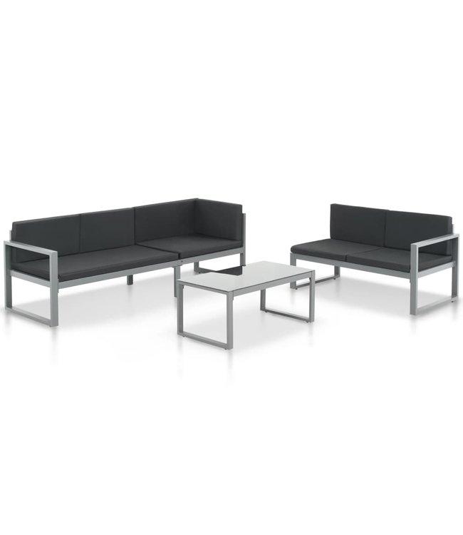 3-delige Loungeset met kussens aluminium zwart