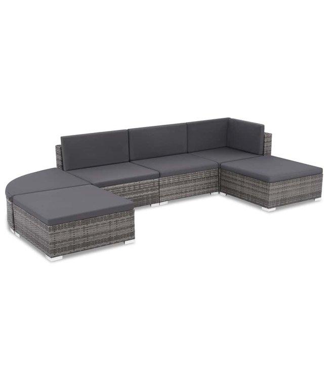 6-delige Loungeset met kussens poly rattan grijs
