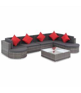 8-delige Loungeset met kussens poly rattan grijs