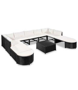 12-delige Loungeset met kussens poly rattan zwart