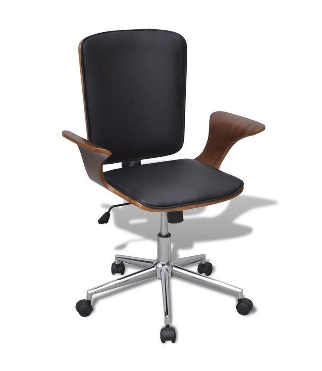 Bureaustoel van gebogen hout met kunstleren bekleding draaibaar