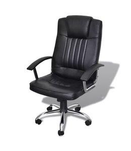 Bureaustoel met exclusief design zwart 65x66x107-117 cm leer