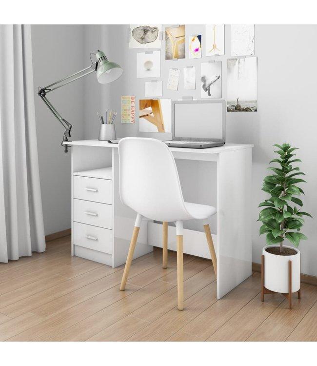 Bureau met lades 110x50x76 cm spaanplaat hoogglans wit
