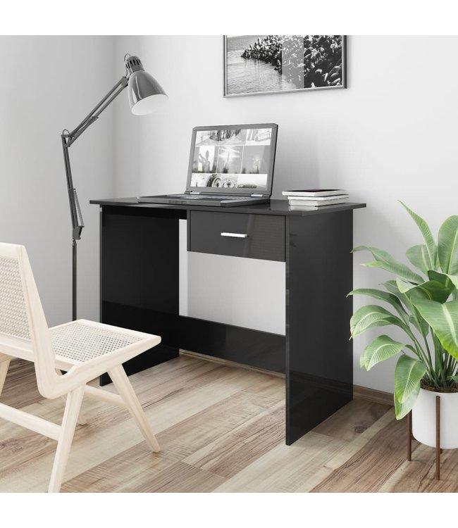Bureau 100x50x76 cm spaanplaat hoogglans zwart