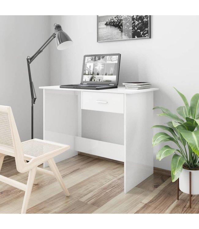 Bureau 100x50x76 cm spaanplaat hoogglans wit