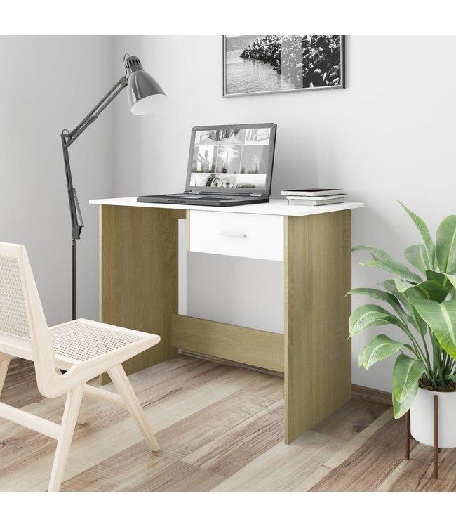 Bureau 100x50x76 cm spaanplaat wit en sonoma eikenkleurig